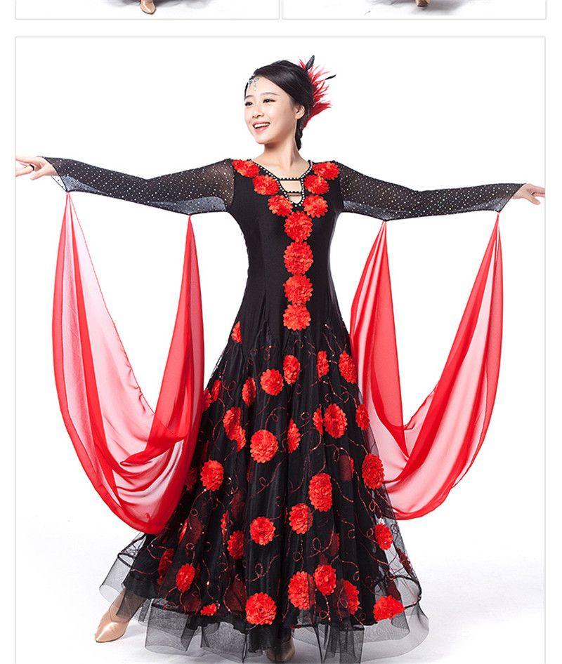 Hochwertige Stickerei Kleid modernen Erwachsenen Walzer Tango Foxtrot Quickstep Kostüm Wettbewerb Kleidung Standard Ballroom Dance Rock