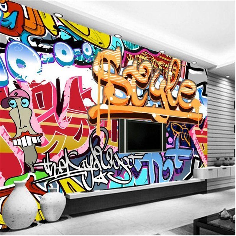 Wholesale custom mural rock graffiti bar ktv tooling background wall photo 3d wall wallpaper - Wandsticker graffiti ...
