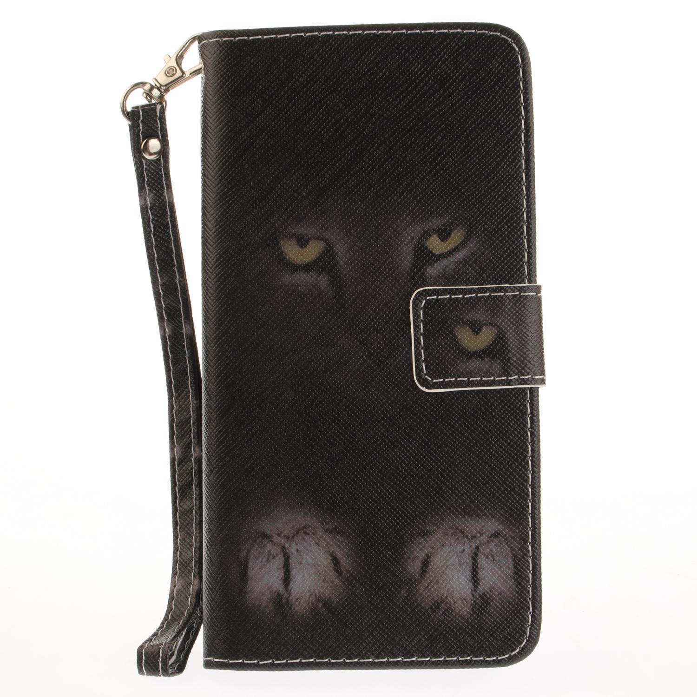 Htc Handy Hüllen Gemalte Mysteriöse Katze Muster Flip Stand Pu Ledertasche Für Iphone 5 5 S 6 6 6 S 6 Plus 6 Splus 7 7 Plus Kartensteckplatz Brieftasche