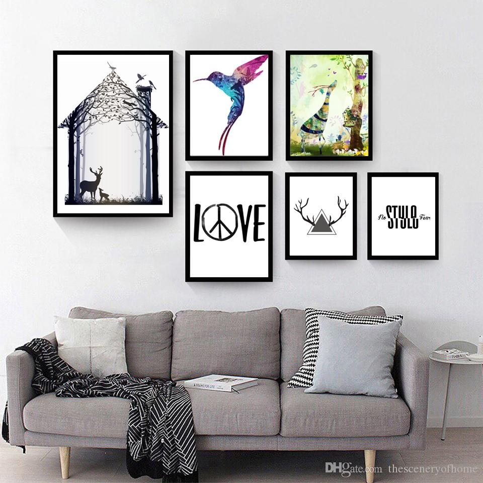 6 Paintings of Modern Nordic Family Decoration Painting Wall Art ...