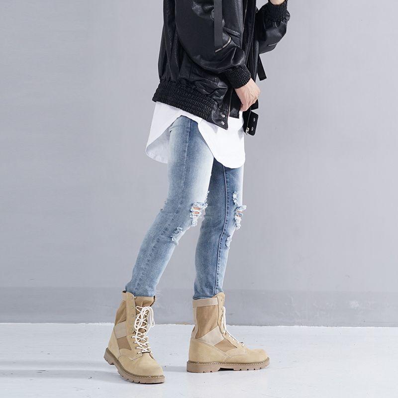 2018 2017 New Men Kanye West Skinny Ripped Jeans Mens Big ...