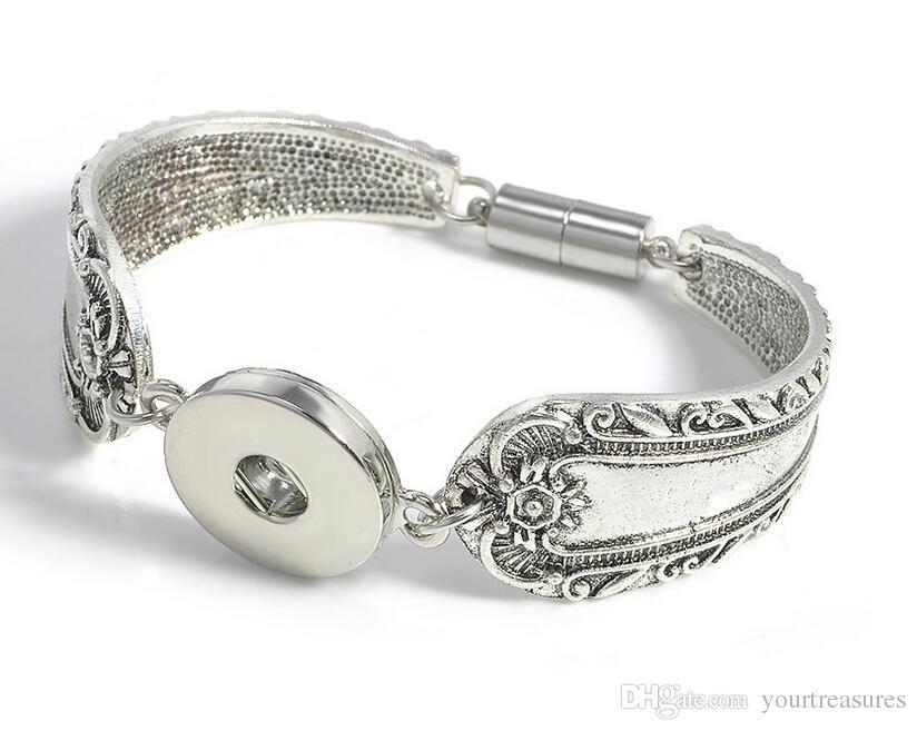 Snap Boutons Bracelets Bracelets Antique Argent Gravé Fleurs Magnétiques Fermoirs DIY Ginger Snaps Bijoux Interchangeables
