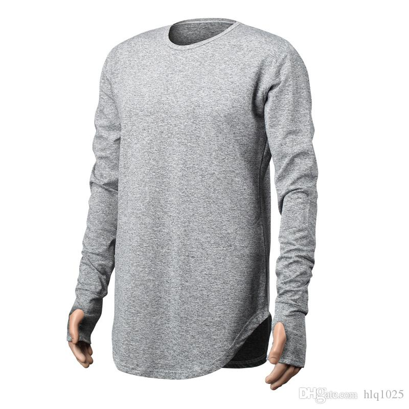 Mens Hip Hop T Shirt Full Long Sleeve T Shirt With Thumb Hole Cuffs Tees  Shirts Curve Hem Men Street Wear Tops Funny Ts T Shirts Buy From Hlq1025 8b535dbcb8b