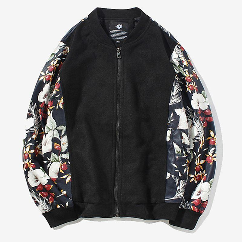 af15a45f2 Men Bomber Jacket Flower Print Leather Sleeve Casual Motorcycle Outerwear  zipper Coat 2017 Spring Fashion Clothing Korean M-5XL