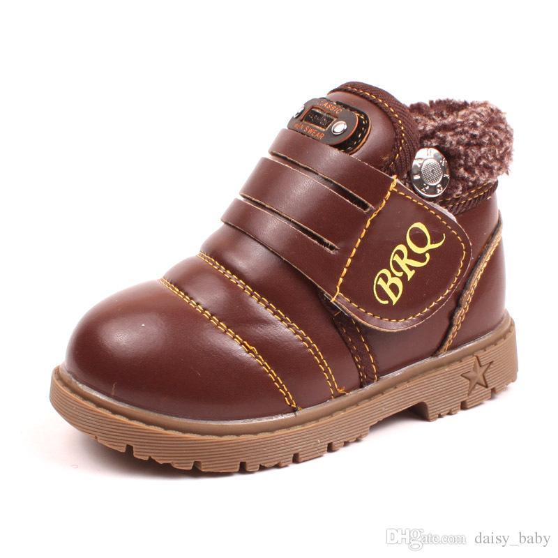 10ff3dcb2 Compre Unisex Niños Invierno Cálido Botas Boots Niños Niñas Plush Forrado  Pu Botines De Cuero Bebé Niños Impermeables Zapatos Con Cordones   16 A   18.1 Del ...