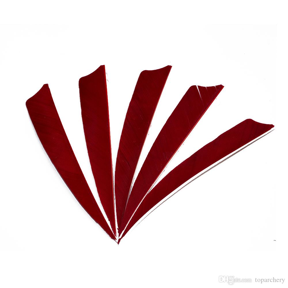 4'' Left Wing Feathers for Glass Fiber Bamboo Wood Archery Arrows Hunting and Shooting Shield Red Fletching