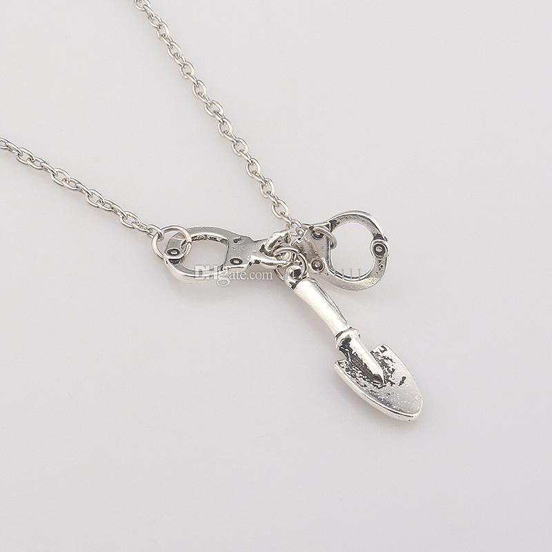 Hot Movie The Walking Dead Necklace Fashion Shovel Handcuffs Pendant Movie Jewelry Alloy Wonmen Personality Necklace