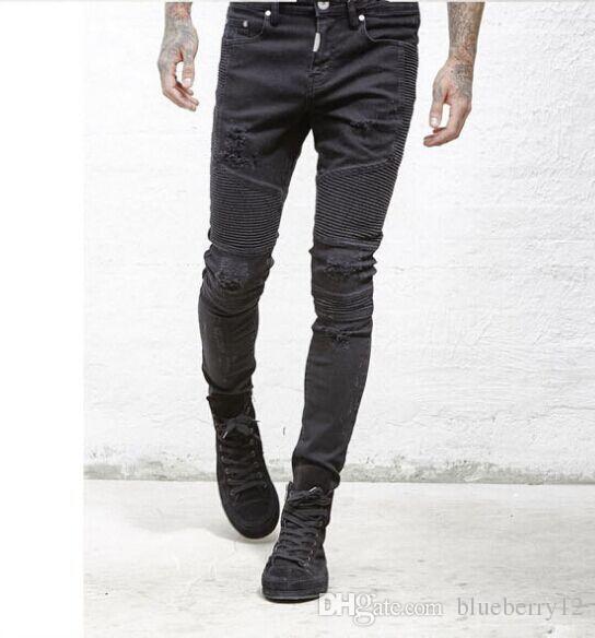 تمثل الملابس السراويل مصمم SLP أزرق أسود رجل / دمرت ضئيلة الدنيم راكب الدراجة النارية على التوالي لحمي الجينز الرجال الجينز ممزق