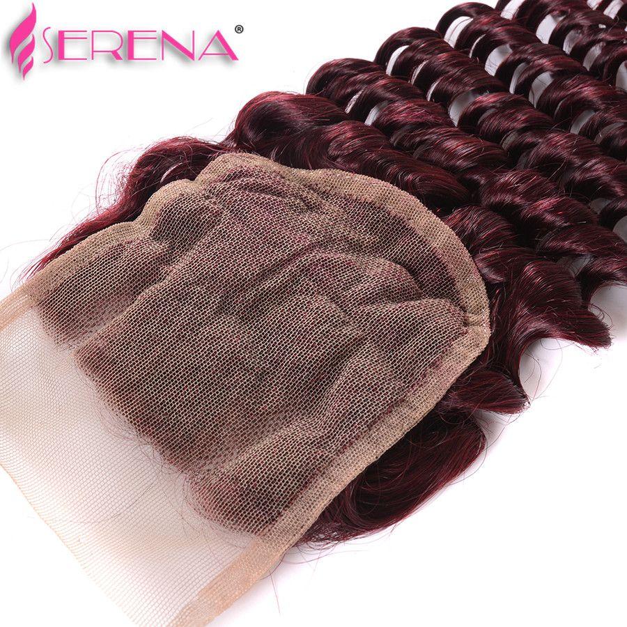Peruvian 4 Bundles 99J Deep Curly Hair Burgundy Deep Wave Human Hair Weaves Wine Red Raw Extensions MONOGOLIAN KINKY CURL Weaves Closure