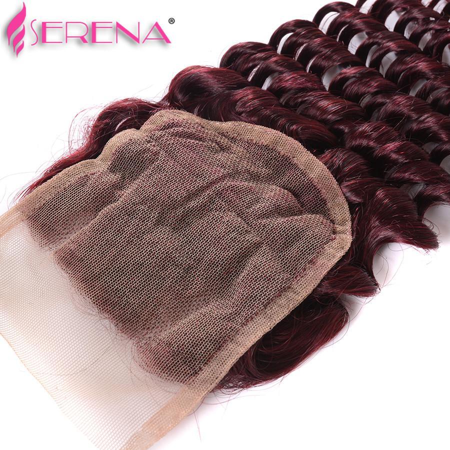Venda Barato cabelo humano 100g feixes de cabelo humano tecer onda profunda # 99J vinho tinto remy malaio cabelo encaracolado tecer online 16 18 20 22 24 26 28 polegada