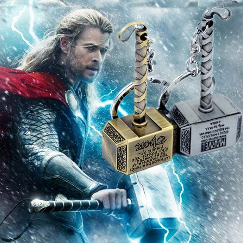 Fashion Movie keychain Thor Hammer Thor THOR Alloy Strap Keychains Avenger Union fans jewelry key chain Mix Color 2018 New Arrival
