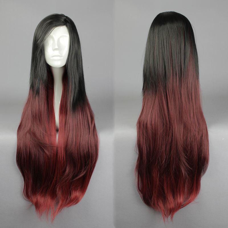 Mcoser 100 Cm Lange Gerade Synthetische Schwarz Rot Farbe Cosplay Perücke 100% Hochtemperaturfaser Wig-585a Kunsthaarperücken