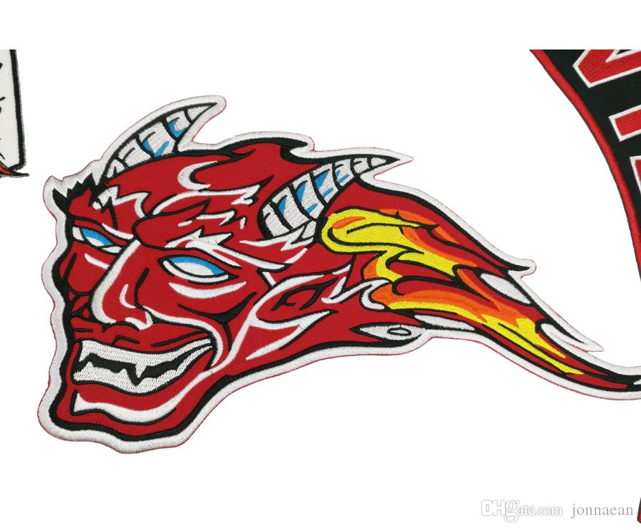 New Arrival RED DEVILS EMBROIDERY BIKER PATCH Iron On Jacket Motorcycle Patch Large Size 40cm Wide Patch