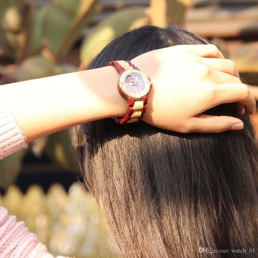 Bewell w020al moda feminina vermelho e maple sândalo relógio de pulso com pulseira de couro de luxo mulheres saudável e quarts relógios w020al