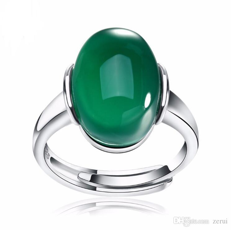 2018 Genuine 925 Silver Rings With Big Green/Red Natural Stone New ...