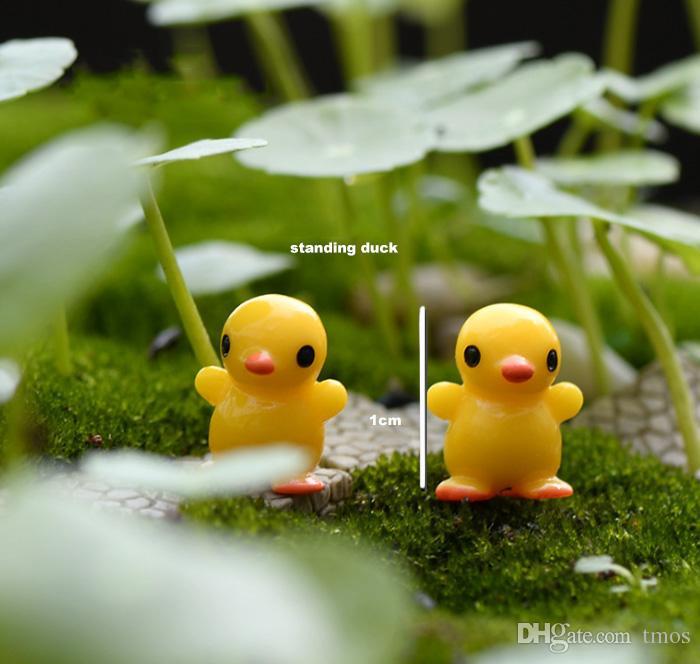 frete grátis atacado bonito Dos Desenhos Animados mini pato amarelo Miniaturas de Jardim Mini Jardim Resina Artesanato para o casamento e casa jardim plantio
