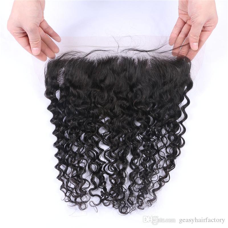 Vierge Vague Profonde Full Lace Frontale Fermeture 13 * 4inch Libre Trois Troisième Partie Cheveux Humains Dentelle Frontals LaurieJ Cheveux