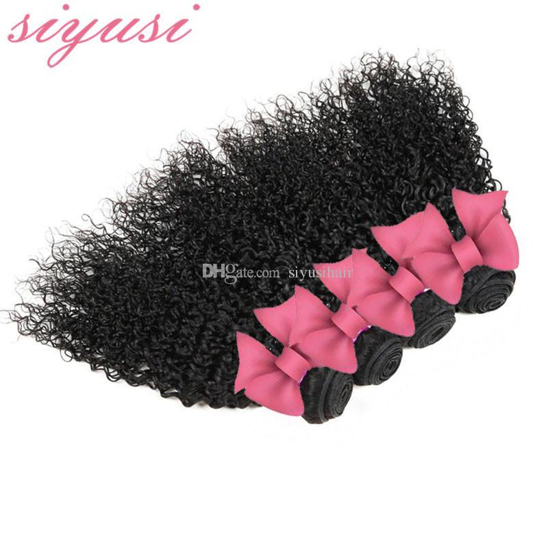 Peruvian Virgin Hair 4 Bundles Kinky Curly Weave Bundles de cheveux humains mouillés et ondulés Péruvien Kinky Curly Virgin Hair