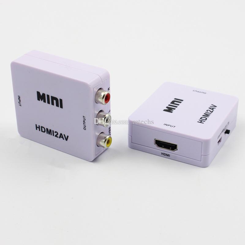 HDMI2AV 1080P HD Video Adapter Mini HDMI zu AV Konverter CVBS + L / R HDMI zu RCA Für Xbox 360 PS360 Mit Kleinverpackungen