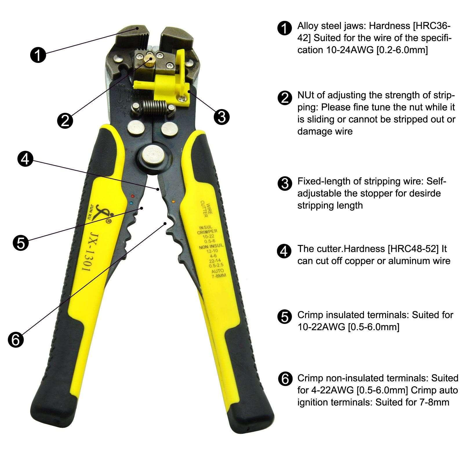 Automatic Wire Cutter Stripper Plier Electrical Cable Crimper ...