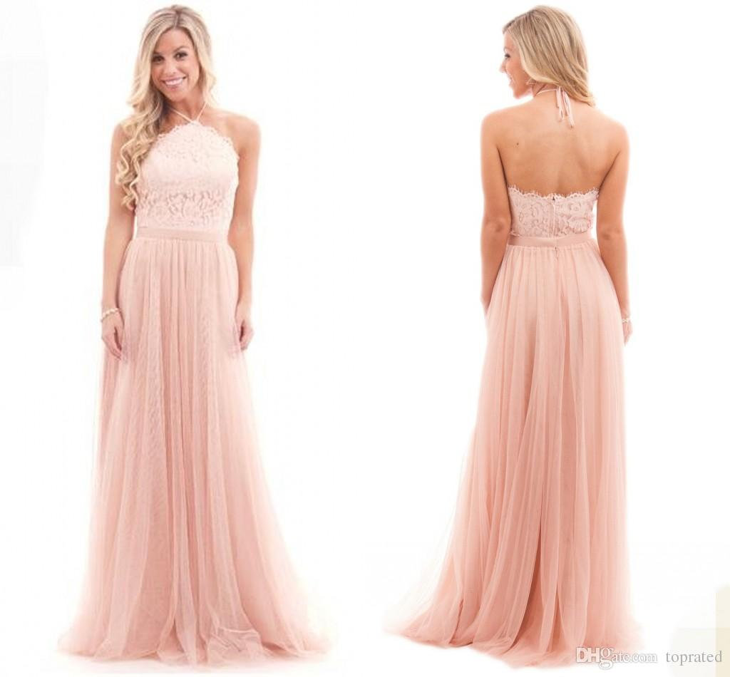 Sexy blush pink bridesmaid dresses tulle halter neck backless sexy blush pink bridesmaid dresses tulle halter neck backless bohemia wedding maid of honor gown prom formal occasion dress 2017 custom made modern ombrellifo Images