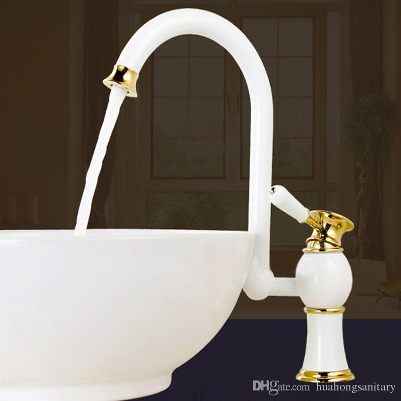 Bathroom Basin Faucet with Single Hole Single Handle ,Grilled White ...