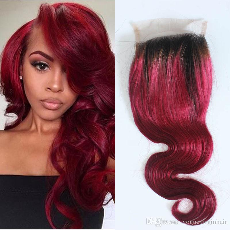 Best black roots red hair to buy buy new black roots red hair hot sale ombre 1b red color lace closure piece body wave two tone black root red brazilian human hair top lace closure urmus Images
