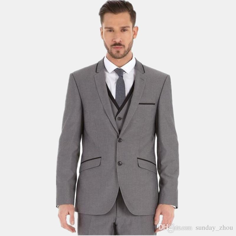 latest design men suits grey men's wedding suits tuxedos single breasted bridegroom best man prom dress suits jacket+vest+pants