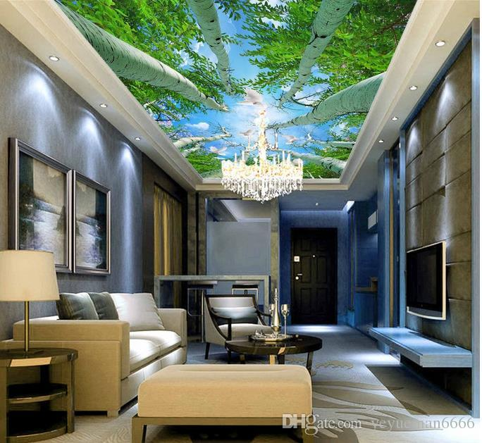 ceiling murals wallpaper european customize photo 3d ceiling Forest tree top Non-woven wallpaper for ceilings