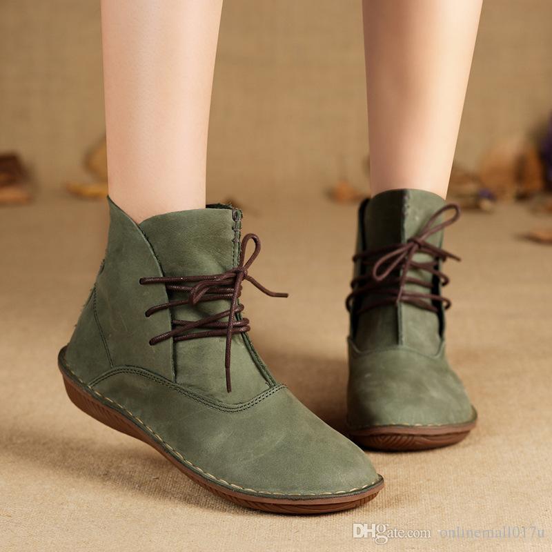 separation shoes 36212 b1b96 Frauen Stiefel Aus Echtem Leder Damen Schuhe Frühling / Herbst schnüren  sich Ankle Boots Weibliche Schuhe