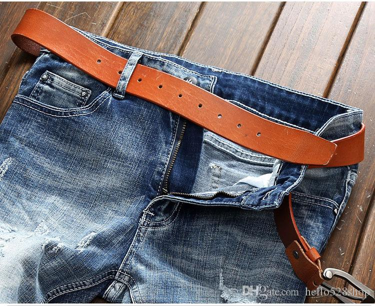 Rahat Moda Delik Kot Pantolon Erkek Gelgit Dilenciler Ince Erkekler için Streç Kovboy Uzun Pantolon Pantolon Mavi