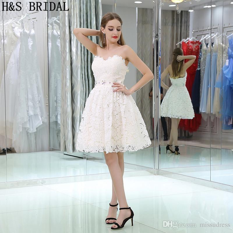 2017 Moda Vestidos de Graduación Cortos Niñas de Encaje Color Crema Del Amor Vestidos de Baile de fiesta Shinny Con Cuentas Vestido B033