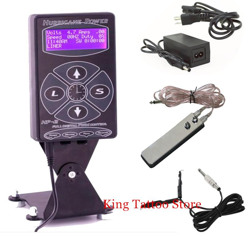 Wholesale-Tattoo Power Supply Kits Set Hurricane HP-2 Dual Digital LCD Tattoo Power Supply with Clip Cord and Foot Pedal