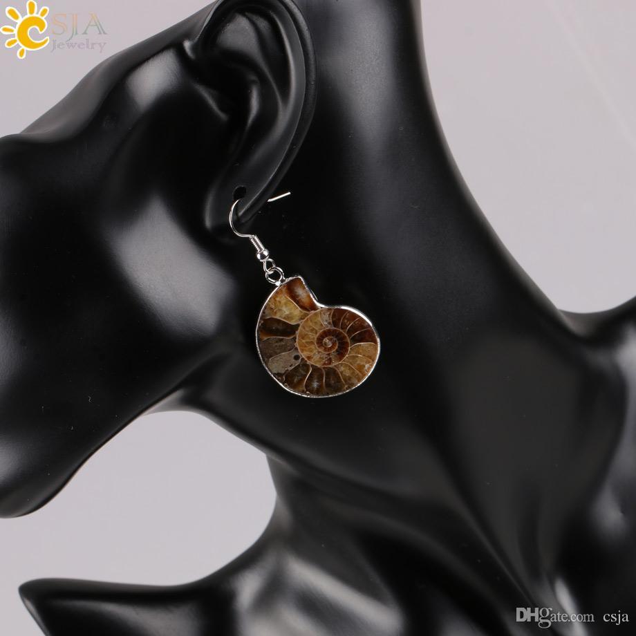 CSJA Frauen Geschenk Natürliche Schnecke Ammonit Spirale Quirl Conch Shell Fossilien Platin Kupfer Tier Anhänger Baumeln Haken Ohrring E105