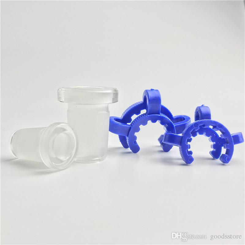 10mm 14mm 18mm adattatore in vetro con plastica keck clip blu bianco mini vetro spesso corto tubi di acqua fumatori