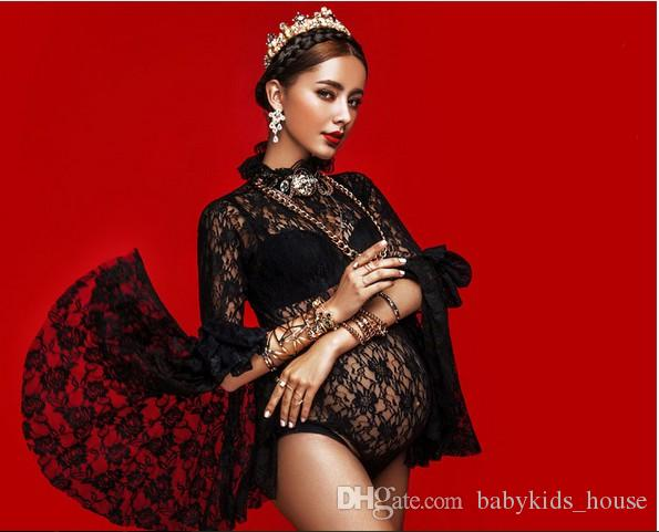 247a04bc5d4 2019 Maternity Gown Black Lace Bodysuit Photography Props Fancy Pregnant  Women Pregnancy Picture Photo Shoot Dress Clothes In Home From  Babykids house