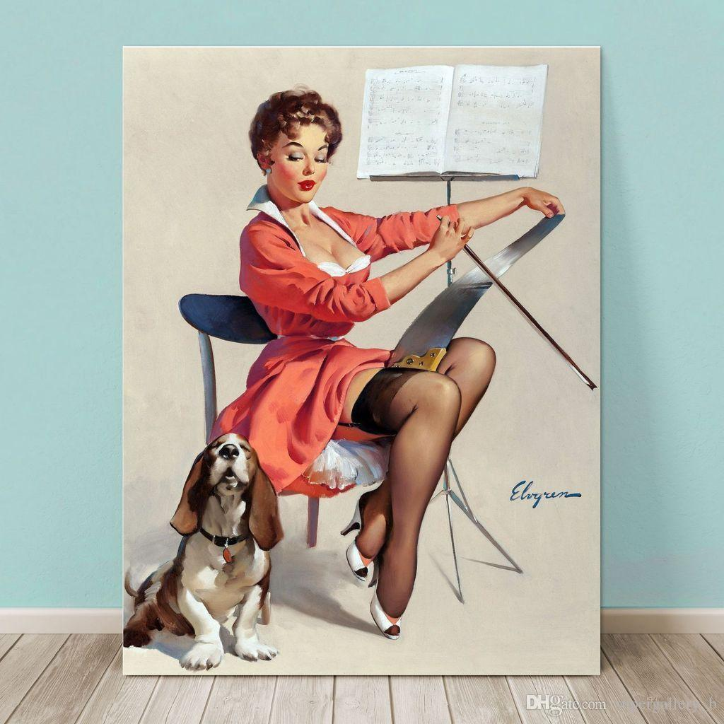 2019 Vintage Pinup Girl Gil Elvgren Hand Painted Art Oil: 2019 Pinup Girl Gil ELVGREN,Hand Painted Art Oil Painting