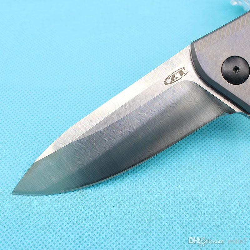 Offerta speciale ZT0801BRZ Rexford Design Flipper Knife M390 Lama in raso TC4 Titanium Handle EDC Coltelli tascabili con scatola originale color oro