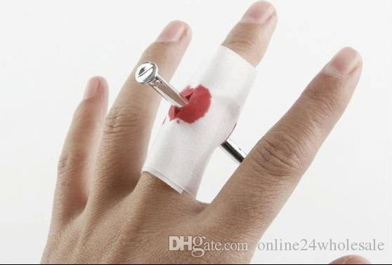 Nail Through Finger Bleed Trick Prank Thumb Bloody Bandage Halloween Prop Joke party / birthday funny show as funny gift