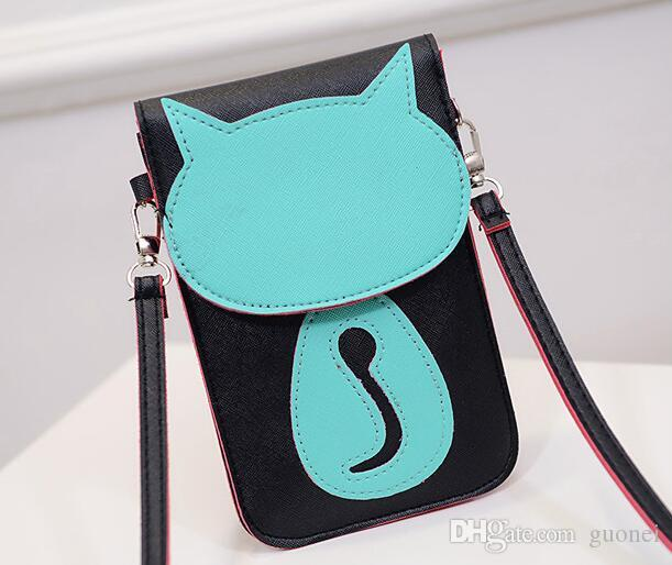 2017 New Cute Cartoon Purse Bag Leather Cross Body Shoulder Phone Coin Bag Cat New Design