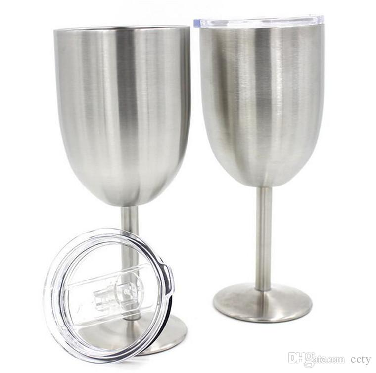10oz New RTIC Style Metal Globet Wine Glass Beer Cups Mugs Bottles Stainless Steel Tumblers Coolers For wedding Party Festival Gifts