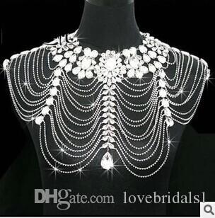 2017 élégante mariée accessoires de mariage chaîne collier épaule épaulettes bijoux en gros haute qualité chaîne d'épaule en cristal