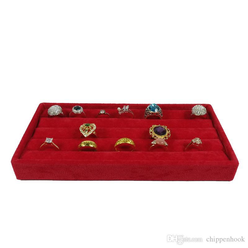 Red Velvet Jewelry Ring Display Organizer Storage Case Velvet Earring Stud Cufflinks Ring Storage Box Tray Ring Bar Tray 11*22*3 cm
