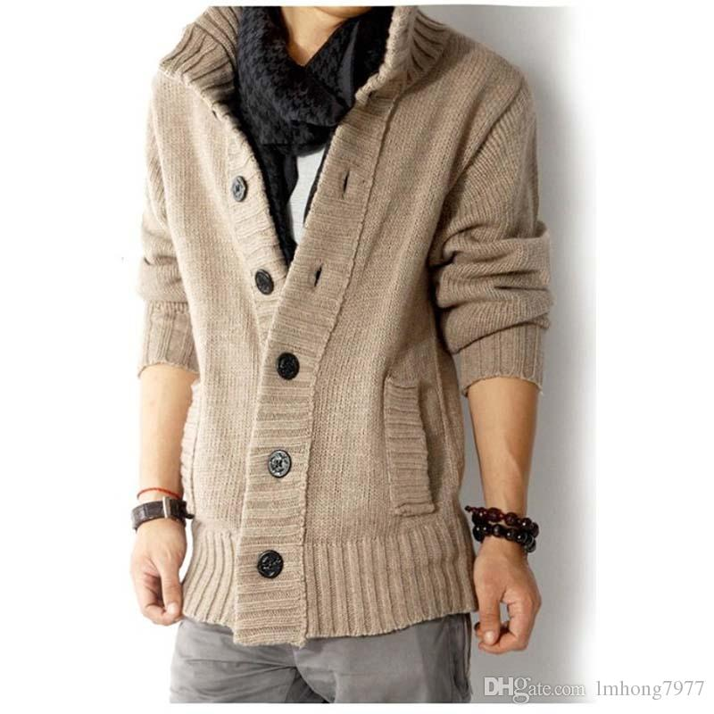2018 2017 New Men Thick Warm Cotton Sweater Stand Collar Solid ...