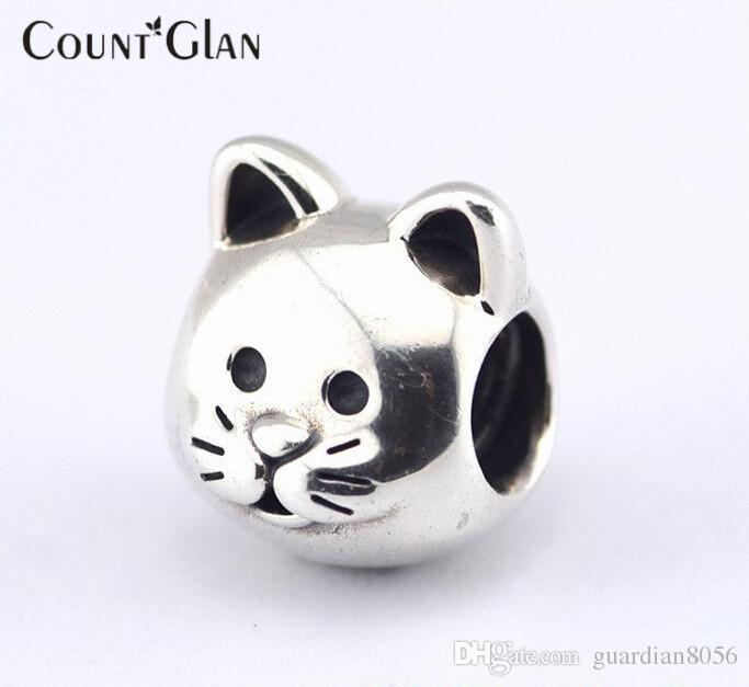 Se adapta a la pulsera de Pandora Collar de cuentas de plata de gato Nuevo Original 925 encantos de plata esterlina DIY al por mayor