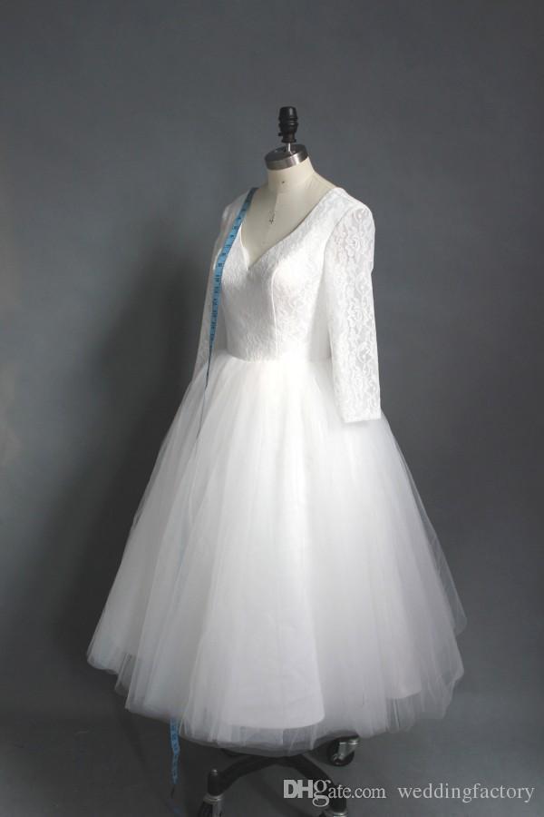 リアル額ティーレングスウェディングドレス安価な高品質AラインVネックレーストップパフィーチュールショートウェディングドレス