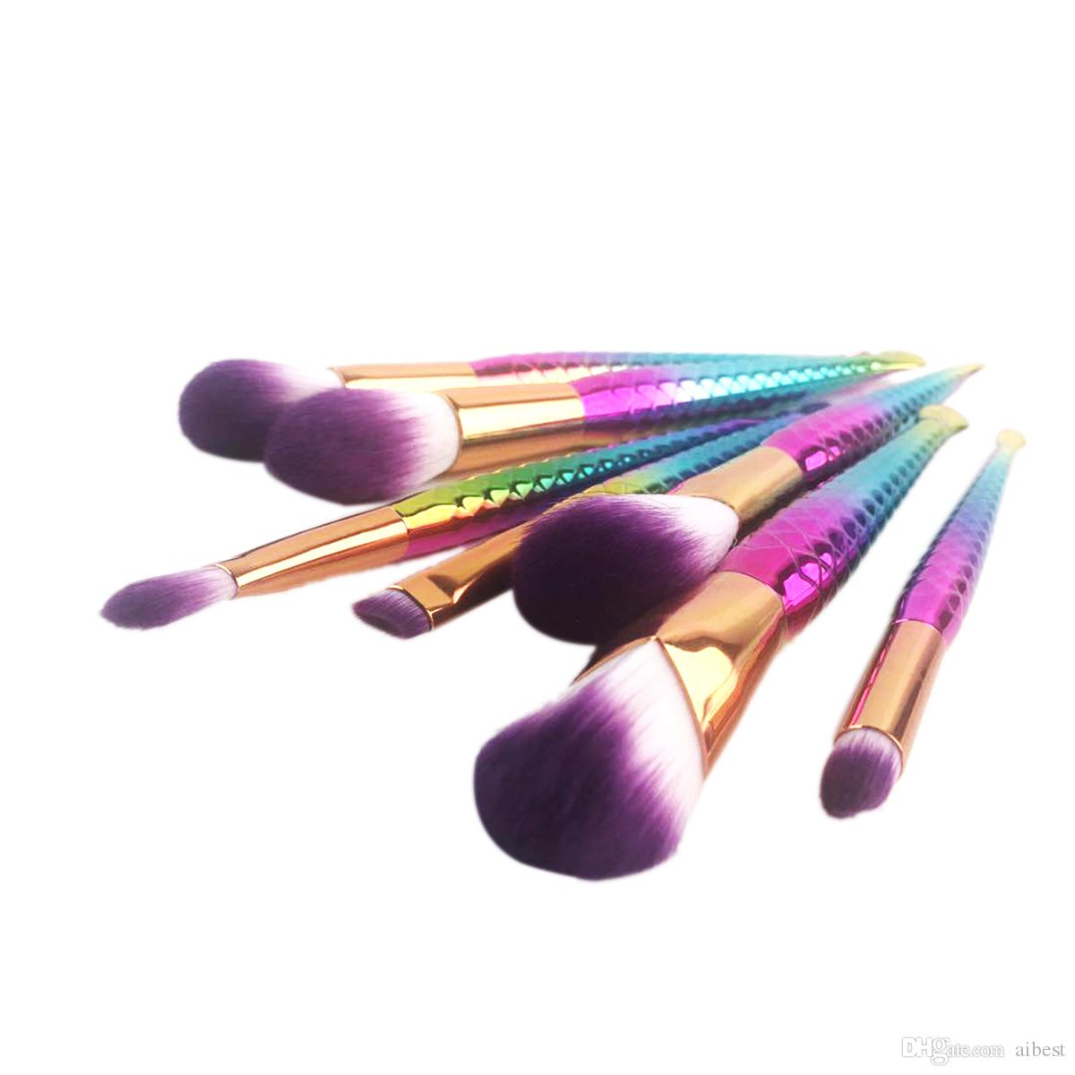Mermaid Makeup Brushes for Foundation Powder Contour Fish Scales Multipurpose Beauty Rainbow Cosmetic Makeup Brush Sets