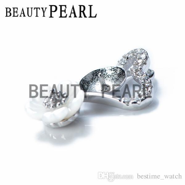Bulk of White Shell Flower Heart Pendant Jewellery Findings 925 Sterling Silver for DIY Charm Pendant Mount