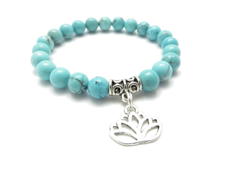Turquoise Mala Bracelet Lotus Yoga Bijoux Méditation Guérison Yoga Bracelet En Pierre Naturelle Reiki Cadeau De Noël NS1117