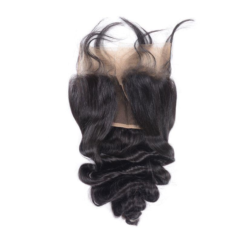 Malezya Ucuz İnsan Bakire Saç Uzantıları Gevşek Dalga Demetleri Ile Dantel Frontal 13x4 Kapanış Saç Atkılar Frontal 4 Parça /